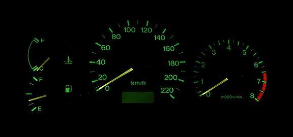 Dashboard dials on a Mazda BA 323.jpg