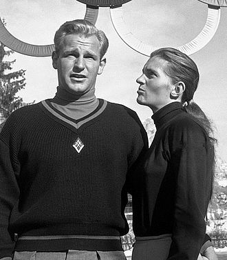 Andrea Mead Lawrence - David and Andrea Lawrence at the 1956 Olympics