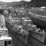 Dealey-class destroyer escort in Pedro Miguel Locks c1961.jpg