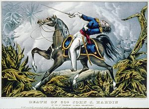 Ellen Hardin Walworth - Portail of the death of Walworth's father, John J. Hardin, at the Battle of Buena Vista.