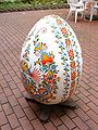 Decorated wooden egg, Prague.JPG