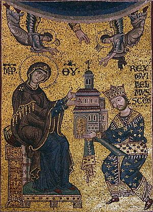Monreale - William II offering the Monreale Cathedral to the Virgin Mary.