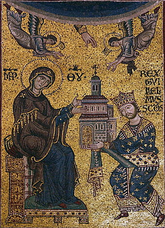 Monreale mosaics: William II offering the Monreale Cathedral to the Virgin Mary Dedication mosaic - Cathedral of Monreale - Italy 2015 (crop).JPG