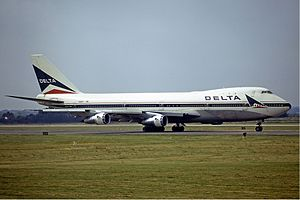 Delta Air Lines - Delta Boeing 747-100 at London in 1973.
