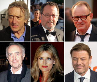 Ronin (film) - Clockwise, from top to left: Robert De Niro, Jean Reno, Stellan Skarsgård, Sean Bean, Natascha McElhone, and Jonathan Pryce.