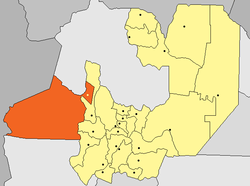 San Antonio (yellow dot) within Los Andes Department (red) and Salta Province