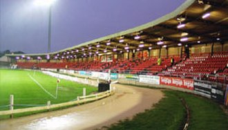 Brandywell Stadium - The Brandywell's 'New Stand' under floodlights