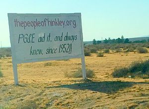 A protest sign outside the desert town of Hinkley