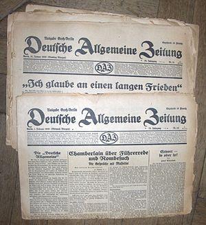 Deutsche Allgemeine Zeitung - DAZ editions of 1939