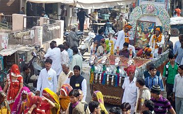 Devotees of Guru Ravidass taking a procession at Rajasthan