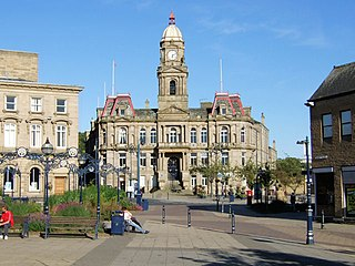 Dewsbury town in West Yorkshire, Britain