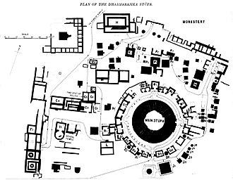 Dharmarajika Stupa - Plan of the Dharmarajika Stupa.