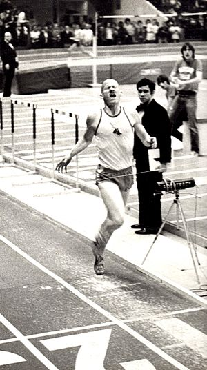 Dick Buerkle - Dick Buerkle setting world record for indoor mile (3:54.9) on Jan. 13, 1978, in College Park, Maryland