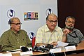 Digambar Kamat and the Director General (M&C) & Director, DFF, Shri S.M. Khan briefing the media at the Curtain Raiser Press Conference on IFFI-2010, at the Media Center, Maquinez Palace, Panaji, in Goa on November 21, 2010.jpg