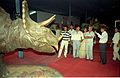 Dignitaries Watching Triceratops - Dinosaurs Alive Exhibition - Science City - Calcutta 1995-06-15 047.JPG