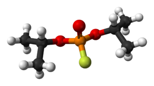 Diisopropyl fluorophosphate - Image: Diisopropyl fluorophosphate 3D balls