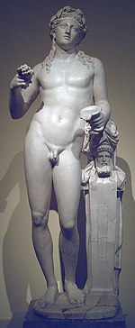 2nd century Roman statue of Dionysus  leaning on a herme, after a Hellenistic model (Spanish royal collection, Prado, Madrid).