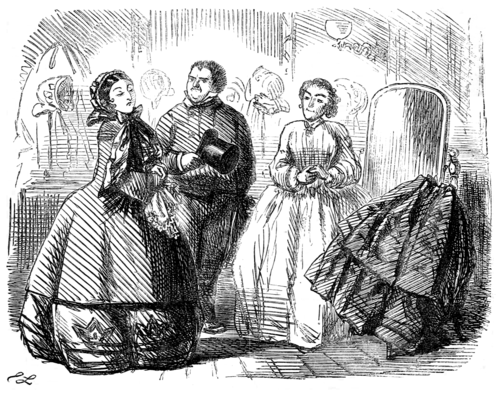 alt = The modiste Madame Lareine gives advice on dressing for a divorce trial. The scene is in a dressmaker's shop, with bonnes and skirts around, at left is fancily-dressed Mrs. Barber and her solicitor Mr. Lamb, at right is Mme. Lareine.