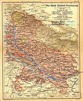 Yamuna - The Doab, United Provinces, 1908 map