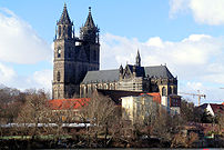 Magdeburg Cathedral,viewed from across the Elbe.