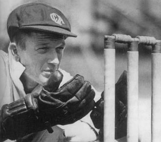 Third Test, 1948 Ashes series - Tallon (pictured) dropped Compton three times during his unbeaten 145.
