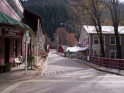 Jersey Bridge, Highway 49, and Downieville. Taken at the historic St. Charles Place, 2009.