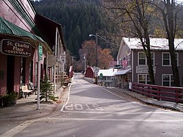 Downieville, California, at Main and Commercial St., looking south.jpg