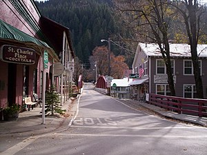 Downieville, California - Jersey Bridge, Highway 49, and Downieville. Taken at the historic St. Charles Place, 2009.