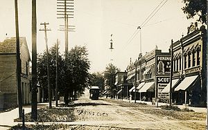Marine City, Michigan - Downtown Marine City with interurban car, which traveled to Detroit. Early 20th century.