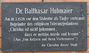 Deutsch: Gedenktafel für Balthasar Hubmaier, D...