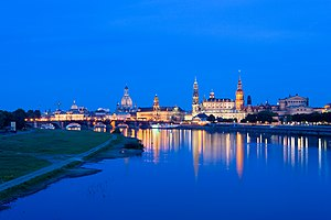 Inner old town of Dresden as seen from the Mary's bridge at early dusk