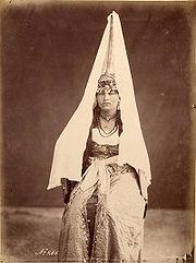 Druze woman wearing a tantur, Chouf, 1870s.