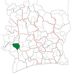 Location in Ivory Coast. Duékoué Department has retained the same boundaries since its creation in 1988.