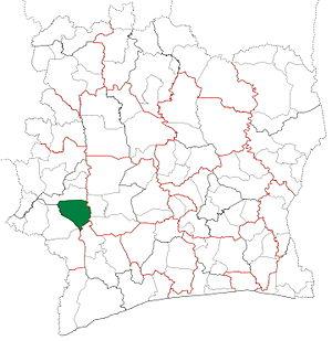 Duékoué Department - Image: Duékoué Department locator map Côte d'Ivoire