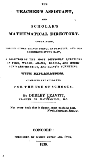 Dudley Leavitt (publisher) - The Teacher's Assistant, and Scholar's Mathematical Directory, by Dudley Leavitt, 1830