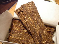 Tobacco can also be pressed into plugs and sliced into flakes.