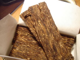 Tobacco can also be pressed into plugs and sliced into flakes
