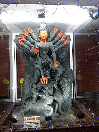 Park Street metro station (Kolkata) - This idol worshipped in Ahiritola Sarbajanin in 2016, now kept in Park Street Metro Station