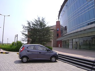 Dwarka Sector 21 metro station - The left side view of Dwarka Sector 21 Metro Station.