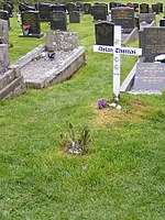 A simple white cross engraved with a memorial message to Thomas stands in a grave yard