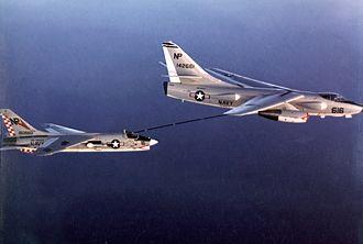 Douglas A-3 Skywarrior - An EKA-3B from VAQ-135 refueling an VF-211 F-8J off Vietnam, 1972.