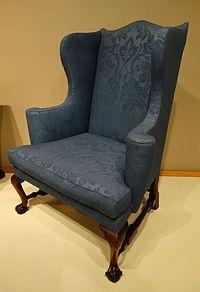 Easy chair, probably Boston, Massachusetts, 1760-1780, mahogany, soft maple, reproduction wool upholstery - Winterthur Museum - DSC01384.JPG