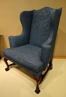 Easy chair, probably Boston, Massachusetts, 1760-1780, mahogany, soft maple, reproduction wool upholstery - Winterthur Museum - DSC01384.JPG