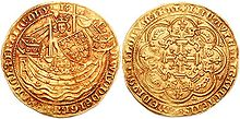 an image of both sides of a gold coin, the obverse showing a crowned figure seated in a ship
