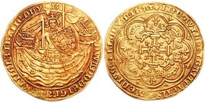 Battle of Sluys - A gold noble coin of 1354, the obverse showing Edward seated in a ship, in commemoration of the battle.