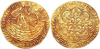 Noble (English coin) - Edward III: AV noble. 1354–1355. Pre-treaty period, series E, London mint