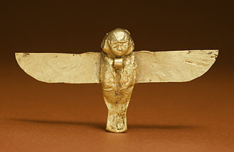 Ancient Egyptian concept of the soul - This golden Bâ amulet from the Ptolemaic period would have been worn as an apotropaic device. Walters Art Museum, Baltimore.