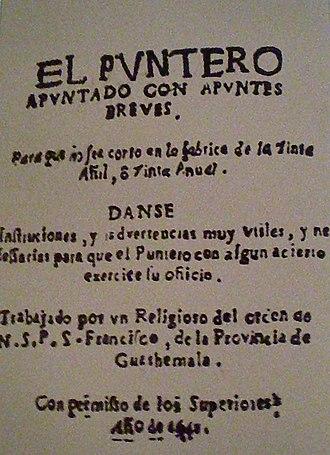 Salvadoran literature - The title page of El puntero apuntado con apuntes breves