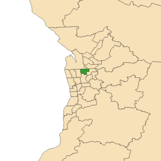 Electoral district of Enfield - Electoral district of Enfield (green) in the Greater Adelaide area