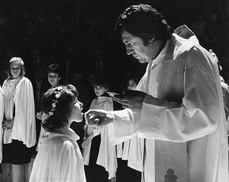 First Communion - A Catholic girl receives First Communion in Hungary.